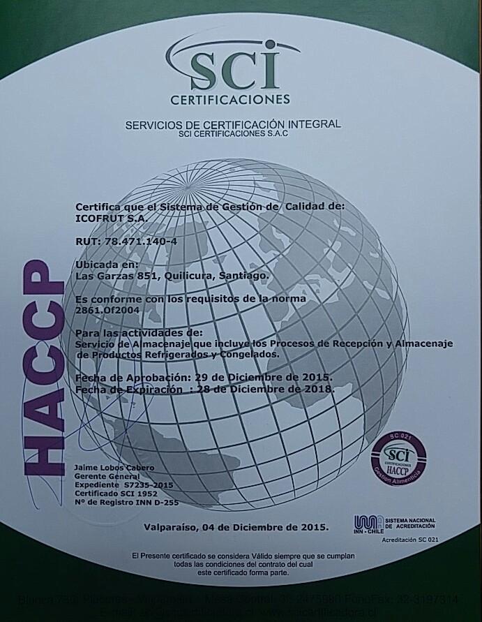 Certificado HACCP planta 851 ICOFRUT 2015-2018