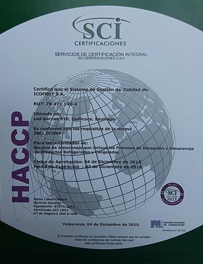 Certificado HACCP planta 910 ICOFRUT 2015-2018